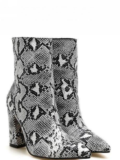 Stivaletti bottes  tacco quadrato gris pitonato 9 cm pelle sintetica 1367