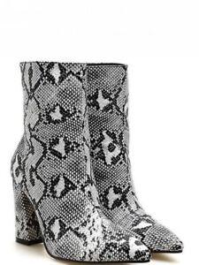 Dettagli su Stivaletti stivali tacco quadrato grigio pitonato 9 cm pelle sintetica 1367