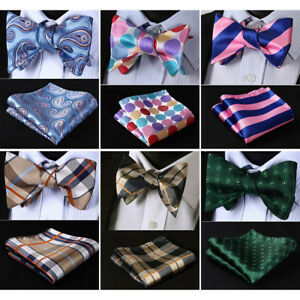 HISDERN-Floral-Check-Men-Woven-Silk-Wedding-Self-Bow-Tie-handkerchief-Set-RM1