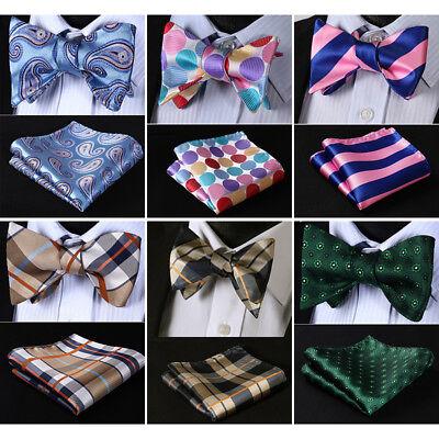 HISDERN Striped Double Side Men Woven Silk Self Bow Tie handkerchief Set#RU1