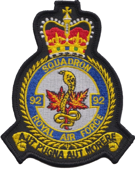 No. 92 (R) Squadron Royal Air Force RAF Crest MOD Embroidered Patch