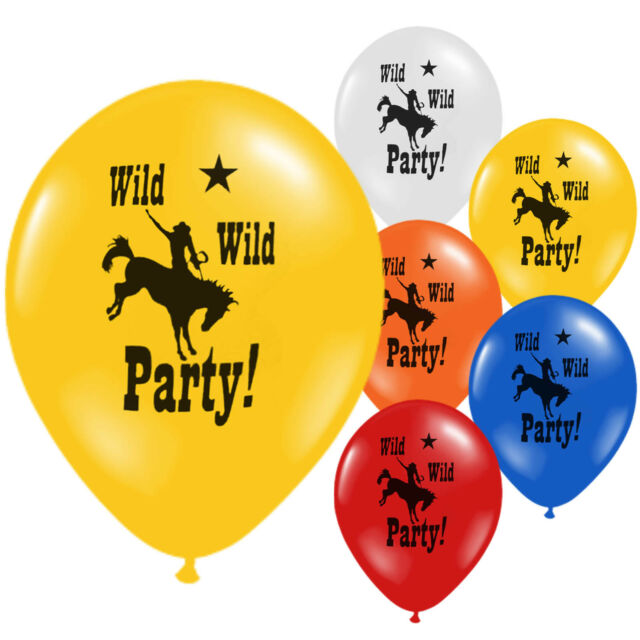 Wild West Cowboy Western Multi Colour Childrens Birthday Party Latex Balloons