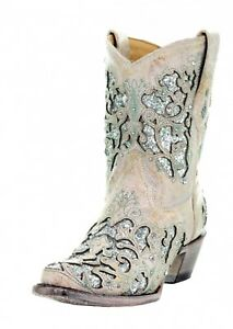 79ad4ca2f Corral White Leather Glitter Inlay Ankle Boot with Crystals A3557 | eBay