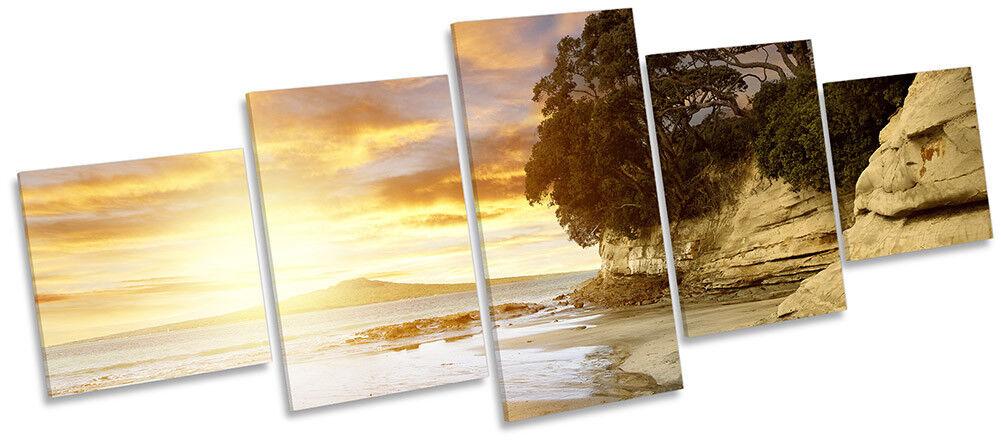 SUNSET Beach Nuova Zelanda art. a muro foto CINQUE PANNELLO PANNELLO PANNELLO 520a1f