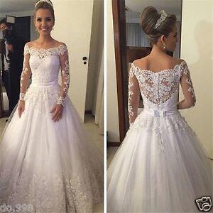 Off shoulder lace wedding dresses long sleeve see through image is loading off shoulder lace wedding dresses long sleeve see junglespirit Gallery