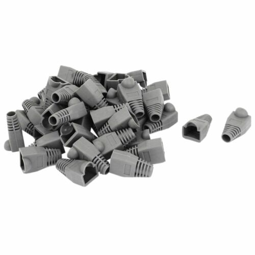 Ethernet Gray Rubber RJ45 Connector Boots Cover Case Protector 50 pieces F3H5
