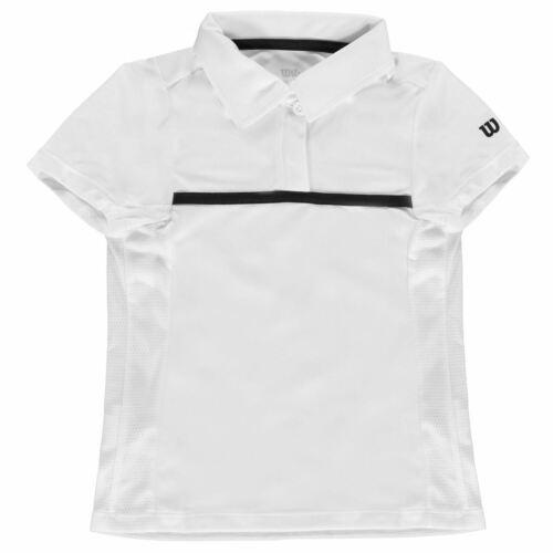Wilson Kids Girls Polo Shirt Junior Short Sleeve Performance Tee Top Lightweight