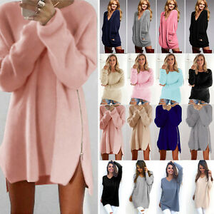 Women-Long-Sleeve-Knitted-Sweater-Oversized-Pullover-Loose-Jumper-Top-Mini-Dress
