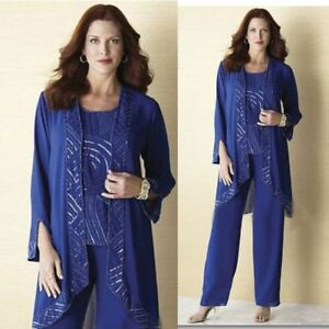 3PCS-Mother-Of-The-Bride-Dresses-Blue-Pants-Suits-Beaded-Sequins-Size-12