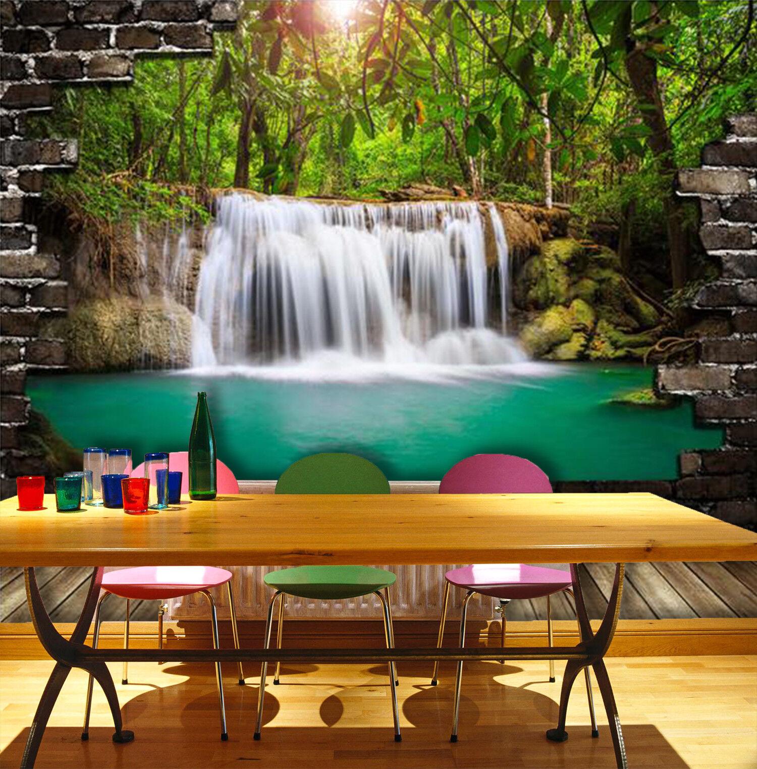 3D Waldwasserfall 577 Tapete Tapeten Mauer Foto Familie Tapete Wandgemälde DE