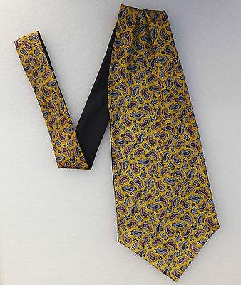 Silk Paisley cravat Single ended Easy tie style Flamboyant Vintage