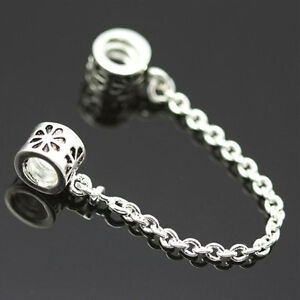 2PCSTop-Safety-Chain-Bead-Charm-Alloy-Silver-Chain-Bead-Fit-Bracelet-Jewelry-PB