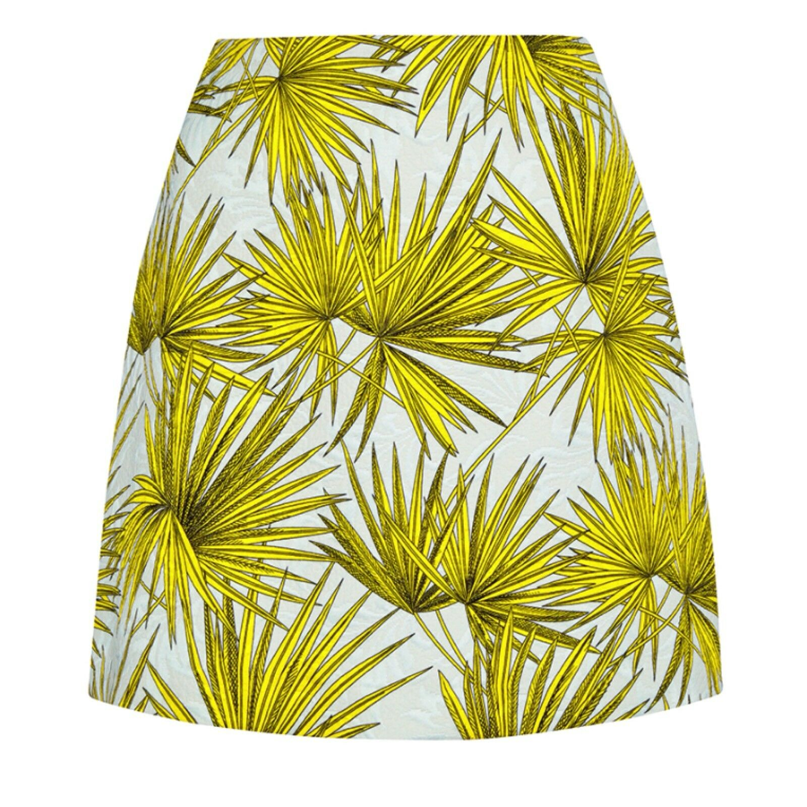 MSGM Frond Palm Print bluee Yellow Mini Skirt Size 42 US 6
