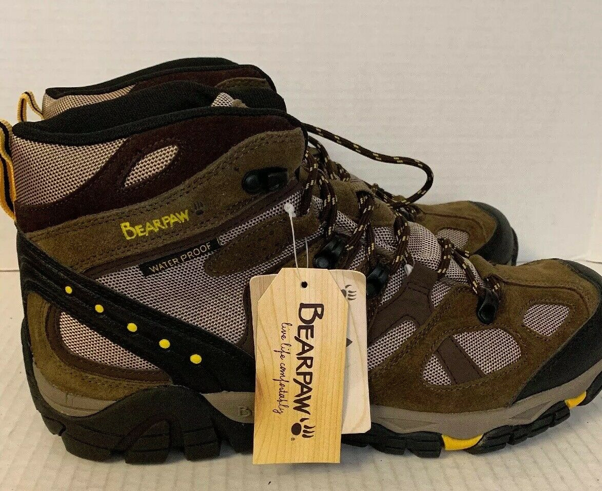 Men's BEARPAW Waterproof Hiking Boots shoes - Brown Leather - Size 12