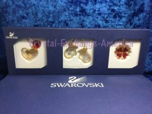 Swarovski Mini Ornament Set 1044197. Heart Mittens Cookie. Retired 2010. MIB+COA