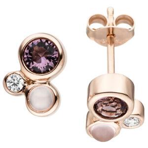 Ohrstecker-Zirkonia-lila-weiss-amp-Glassteine-rosa-925-Silber-Rotgold-vergoldet