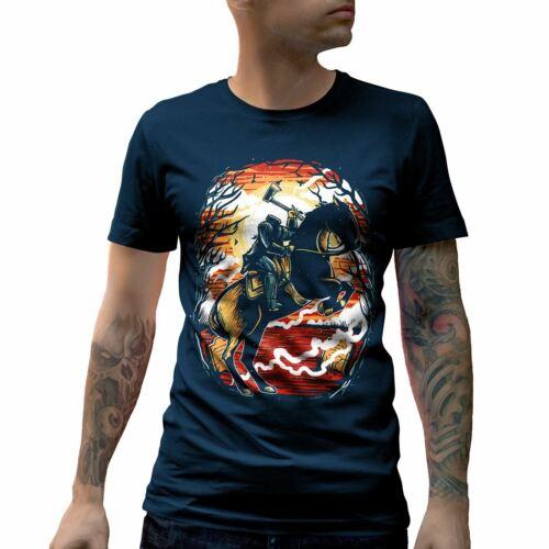 Headless Horseman T-Shirt Horror Ghost Saw Moon Bat Night Evil Blood Hell A543