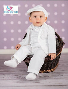 Baby Boy White Outfit Christening baptême Pageboy formel Smart Outfit Hat 0-18 M