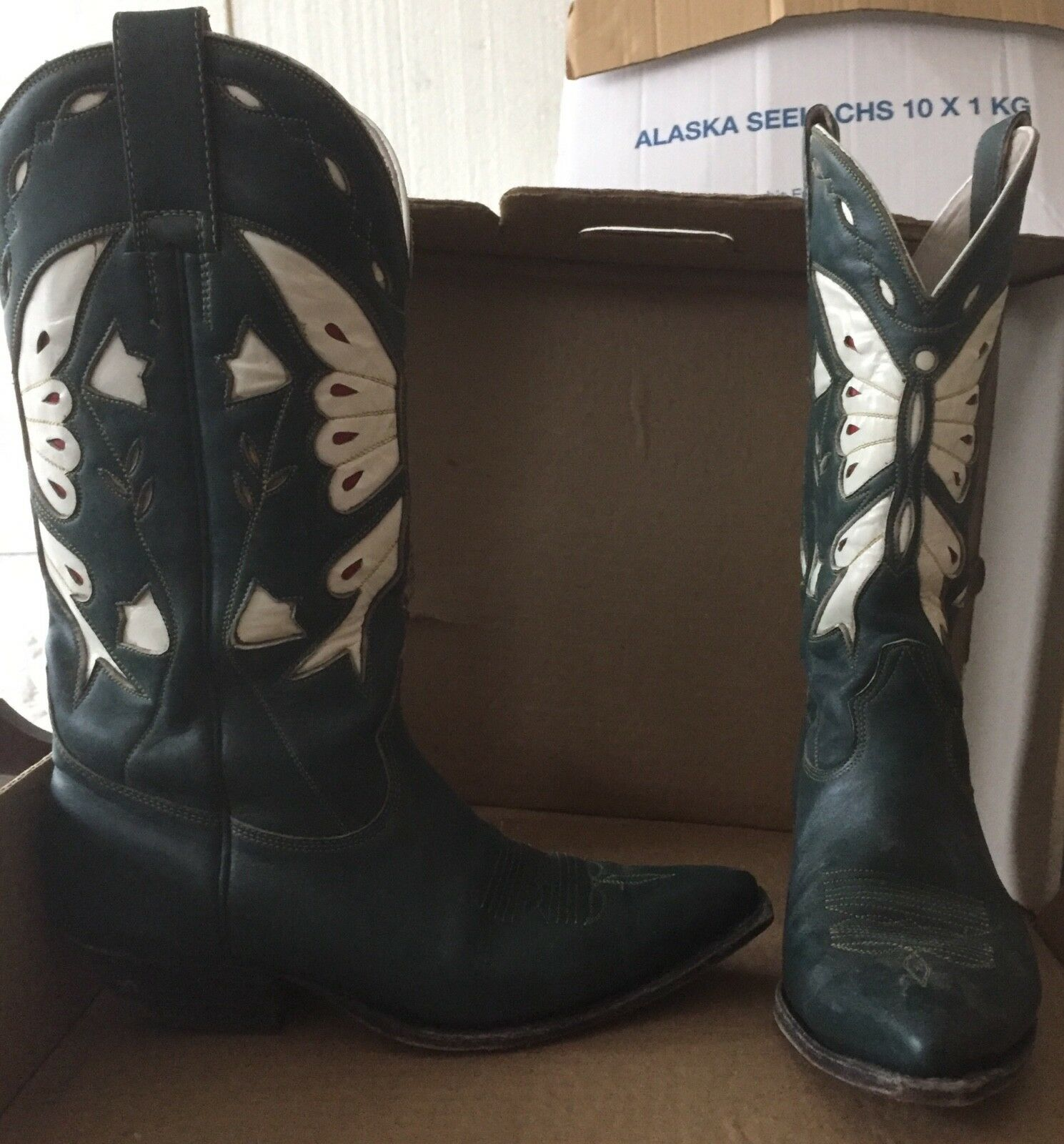 Sehr sehr schöne grüne Leder Western Cowboy 8,5 Stiefel, Damen, SELTEN Gr. 8,5 Cowboy baa800