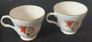VINTAGE SADLER WELLINGTON FINE BONE CHINA PEDESTAL TEA CUP GOLD ACCENTS SET OF 2