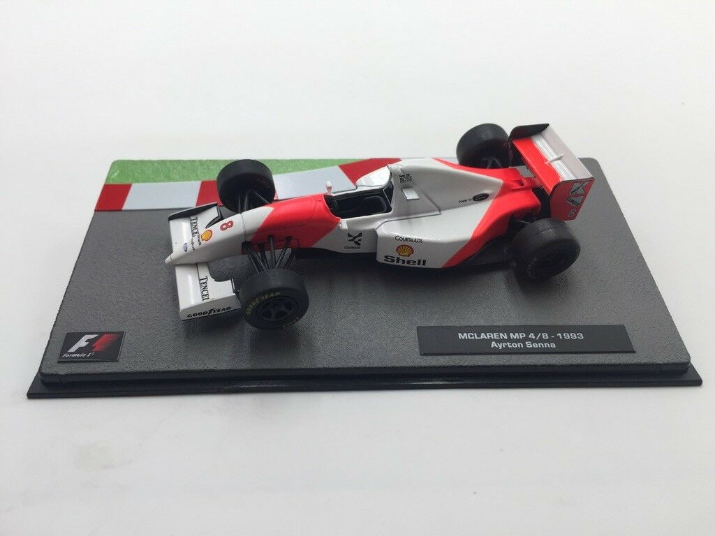 Mclaren mp 4 8-1993 ayrton senna 1 43  collection formule 1 neuf socle plexi