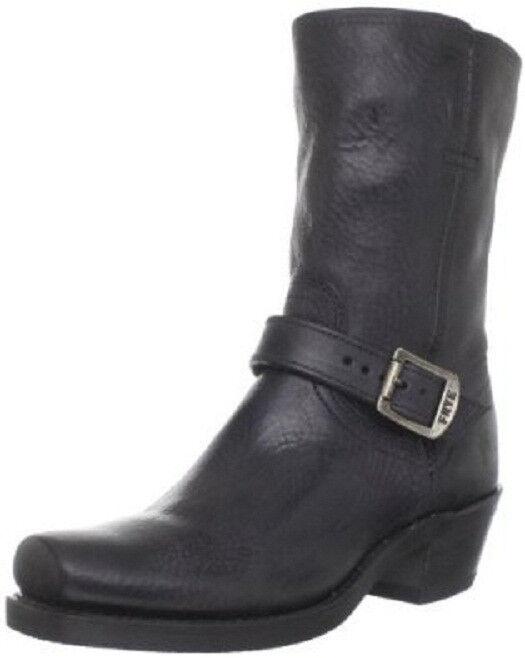 NEW FRYE Women's Harness Strap 8R Boot Black Soft Pebbled Full Grain Size 5.5