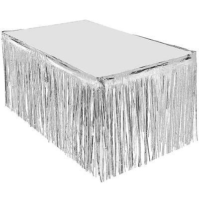 SILVER METALLIC FOIL TABLE SKIRT SKIRTING FRINGE PARTY SUPPLIES 72CM x 2.8M