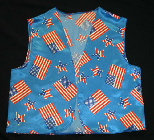 USA Waistcoat America Flag Stars Stripes Fancy Dress 4th July Mens Ladies S /& L