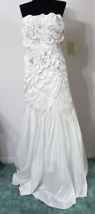 Chicas-S-Dress-Formal-Pageant-Gown-WHITE-Avant-Garde-3-D-Beaded-Wedding-NWT