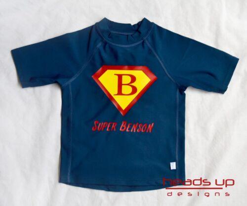 Superman Personalized Rashguard Swim Shirt Boy Baby Kid Toddler Sun