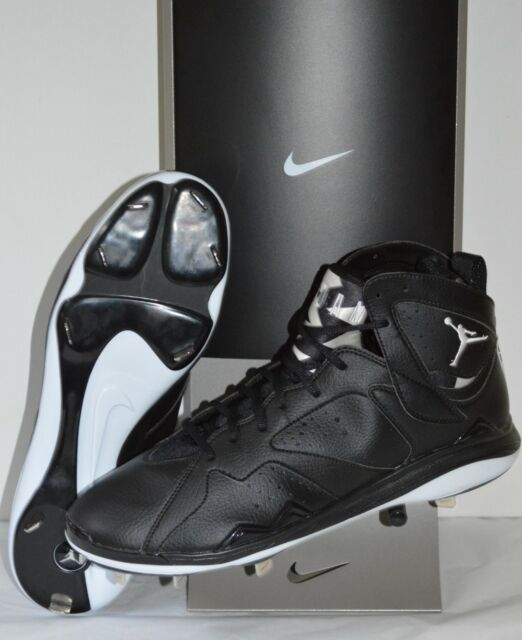 super popular d2b8e 71762 Nike Air Jordan Retro 7 Baseball Cleats Metal Mens 14 Black White 684943 010