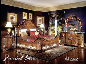 Michael Amini Excelsior King Panel Bed 5 Piece Luxury Bedroom Set 2 ...