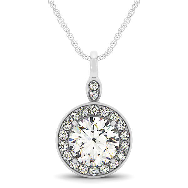 0.80 CT FOREVER ONE MOISSANITE ROUND MICRO PAVE HALO PENDANT