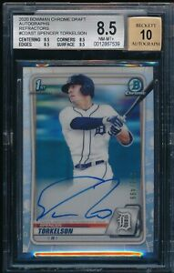 BGS 8.5/10 SPENCER TORKELSON AUTO 2020 Bowman Chrome REFRACTOR #/499 RC NM-MT+