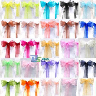 1/10/50PCS Wedding Ribbon Sheer Organza Chair Cover Bow Bridal Banquet Decor