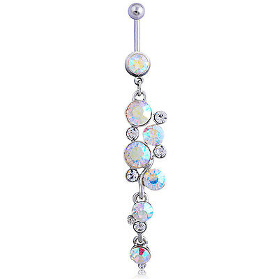 Crystal Round Rhinestone Belly Navel Ring Body Piercing Jewelry Surgical Steel