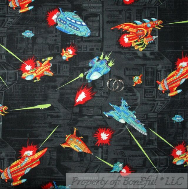BonEful Fabric Cotton Quilt Dark Night Cartoon Boy Space Ship Sky Rocket L SCRAP