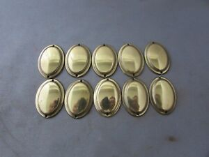 Lot-10-VTG-Brass-Escutcheon-Cover-Bolt-Cover-Furniture-Trim-Pieces-1-034-x-1-25-034