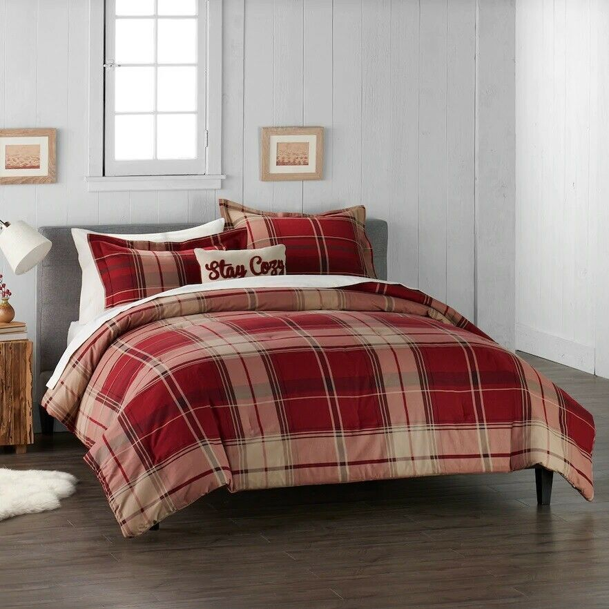 Cuddl Duds Home rot Plaid Flannel Comforter Set - 4-piece - Full Queen
