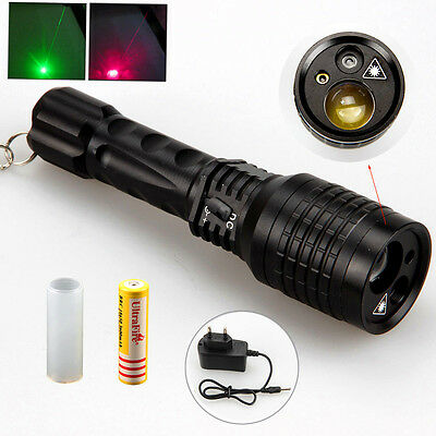Rechargeable Tactical 2000LM LED Hunting Zoom Flashlight Torch & Green Red Laser