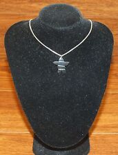 Italian Made Box Chain Necklace With Small Magnet Stone / Rock Charm / Pendant!