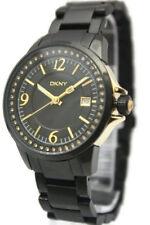 New DKNY Steel Black Crystals Bezel Date Women Dress Watch 37mm NY4483 $205