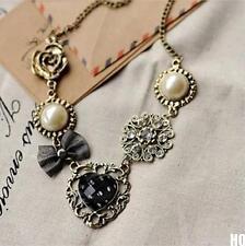 Fashion Vintage Pearl Flower Heart Rhinestone Bronze Chain Pendant Necklace HOCA