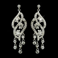 Rhinestone Dangle Bridal Earrings 2857 Available In 5 Different Colors