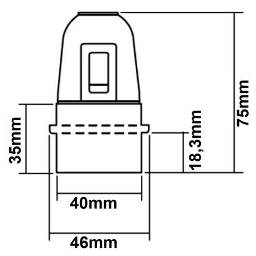 Lampen Fassung E27 Schwarz mit Wippschalter 250V