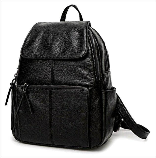 ce57a6951abe Women s Genuine Leather Black Backpack Satchel Rucksack Shoulder School Bag
