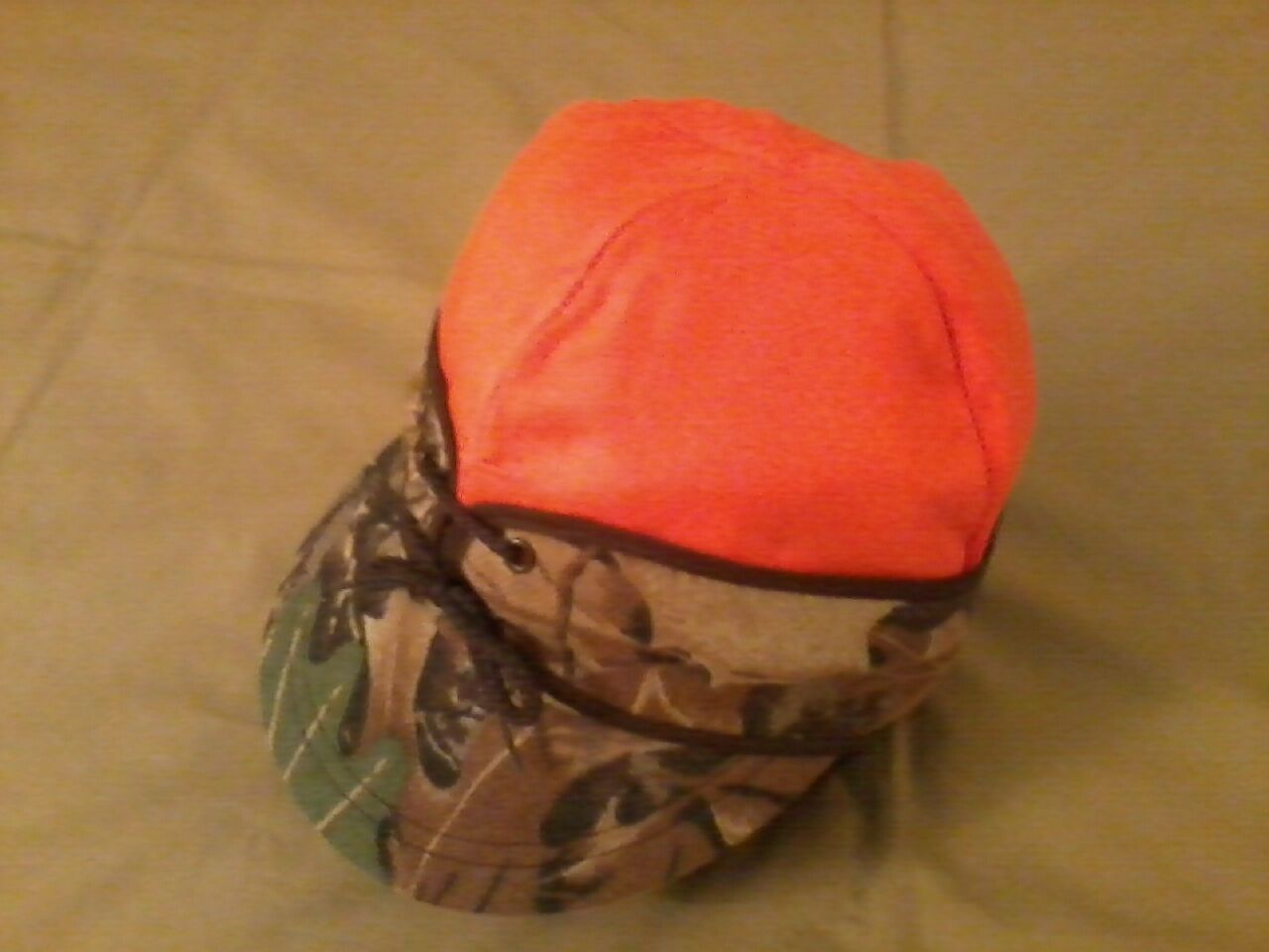 Original Wool Railroad Cap, Camo Reversing to Blaze orange,Langenberg Hat, NEW