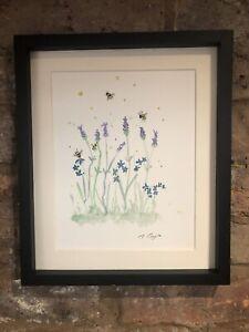 Bumble-Bees-Lavender-Forget-Me-Not-Original-Watercolour-Painting-Original-Art