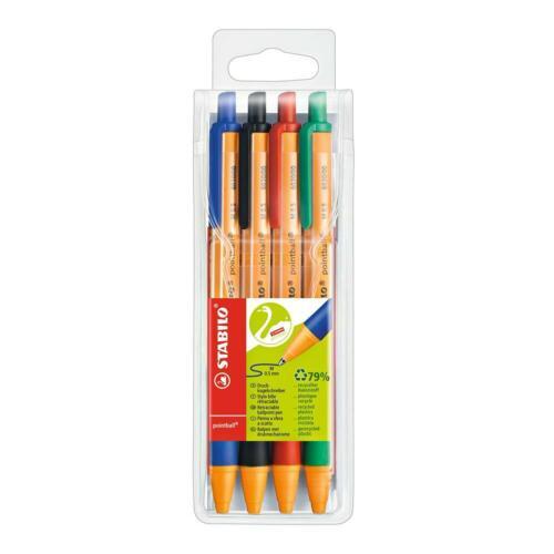 STABILO pointball 4er Pack Druck-Kugelschreiber Patronenroller Tintenroller Set