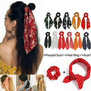 Bow-Satin-Long-Ribbon-Ponytail-Scarf-Hair-Band-Tie-Scrunchies-Elastic-Hair-Rope